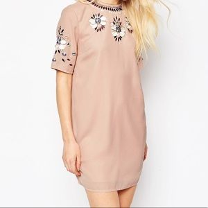 ASOS Mini Shift Dress With Floral Embellishment